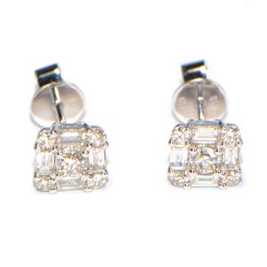 Diamant Ohrstecker Weissgold modern