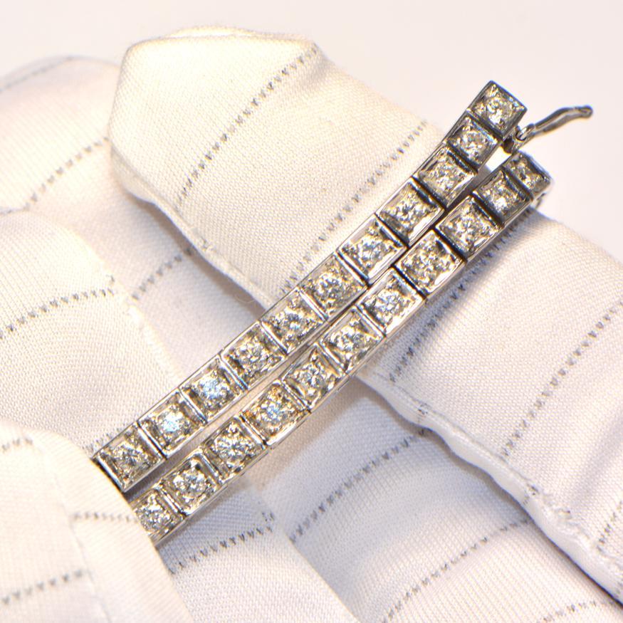 Diamant Armband Weissgold eckig