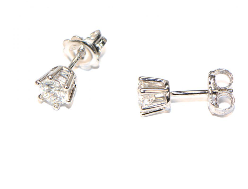 6 Krappen Weissgold Ohrstecker Diamant