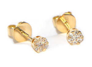 Diamant Ohrstecker Gelbgold Illusion