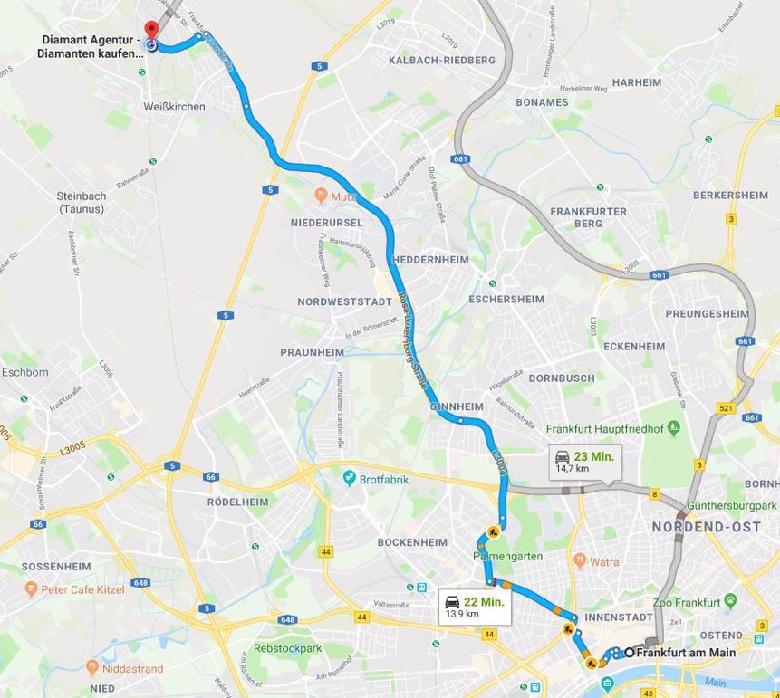 Anfahrt von Frankfurt am Main Diamant Agentur Goldankauf