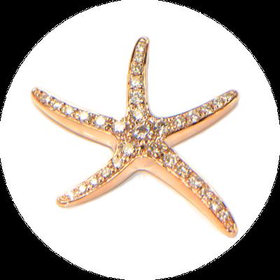 Diamant Anhänger Rosegold Seestern