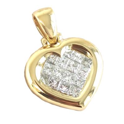 Herz Diamant Anhänger Gelbgold