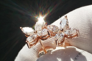 Ohrstecker Rosegold Navette Marquise