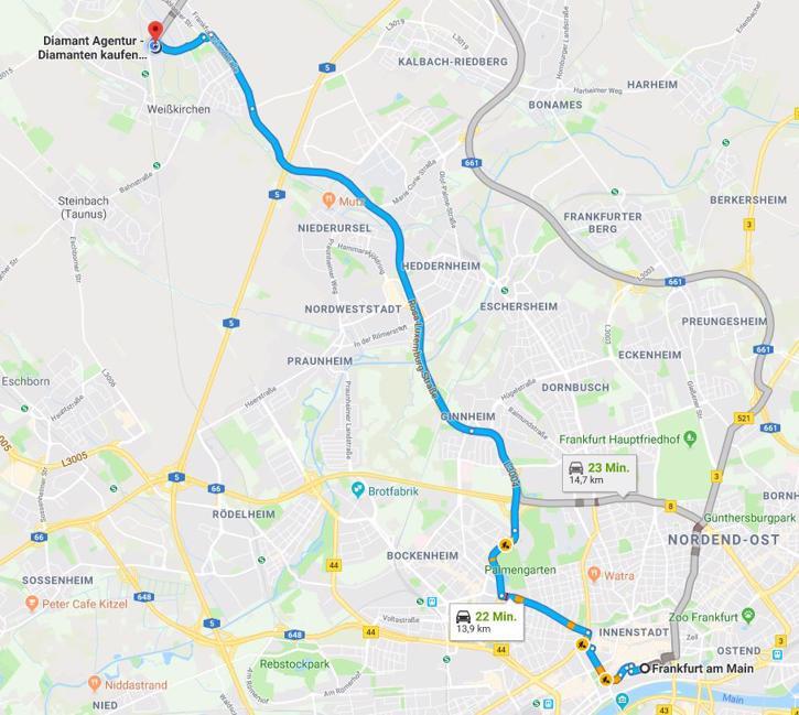 Anfahrt von Frankfurt am Main