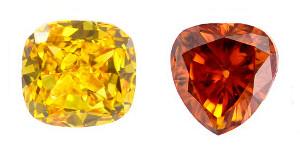 Gelbe Orange Farbdiamanten
