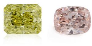 Grüne Rosa Farbdiamanten