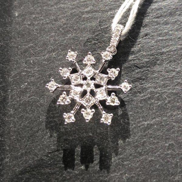 Diamant Anhänger 0,43 ct. in Weissgold 18K Schneeflocke 5
