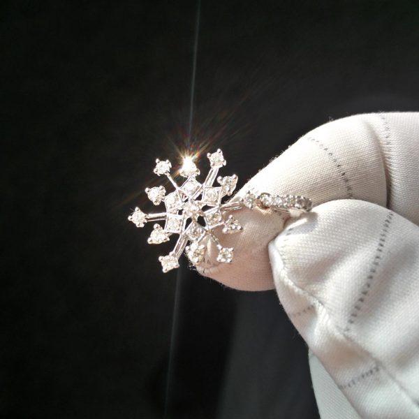 Diamant Anhänger 0,43 ct. in Weissgold 18K Schneeflocke