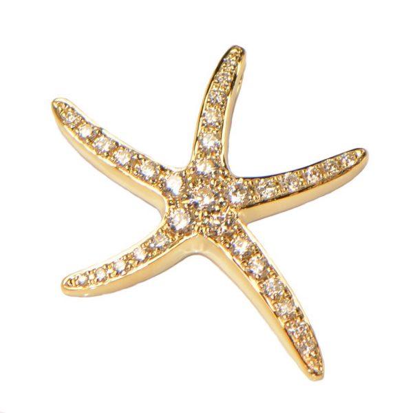 Diamant Anhänger Gelbgold Seestern
