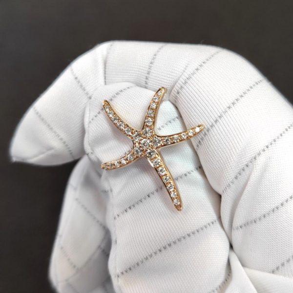 Diamant Anhänger Roségold Seestern 4