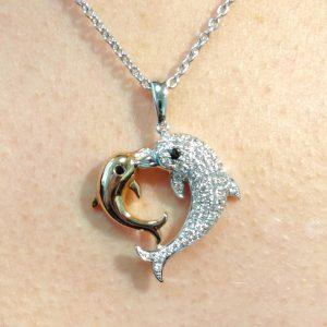 Diamant Anhänger Weissgold Roségold bicolor Delfin