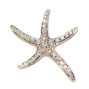 Diamant Anhänger Weissgold Seestern 1