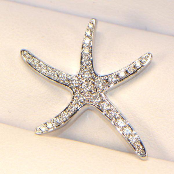 Diamant Anhänger Weissgold Seestern 6