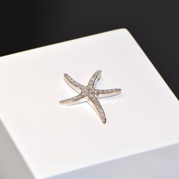 Diamant Anhänger Weissgold Seestern 7
