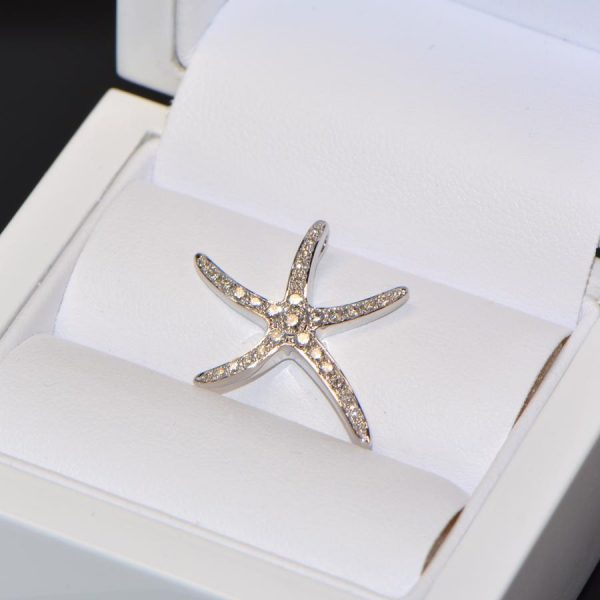 Diamant Anhänger Weissgold Seestern 8