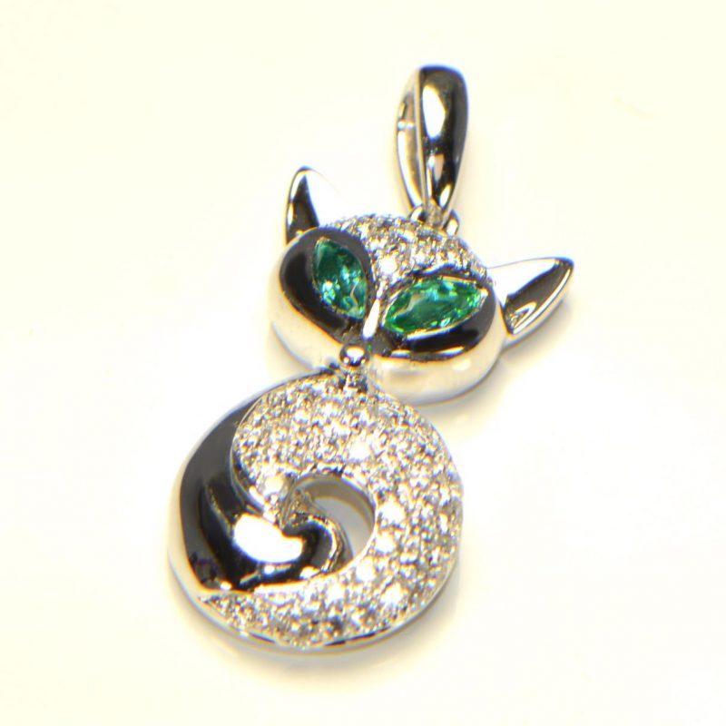 Diamant Anhänger in Weissgold Smaragd Fuchs 2