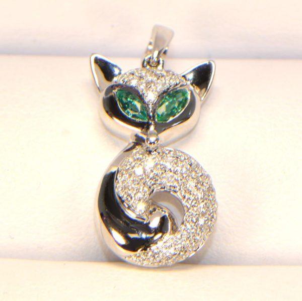 Diamant Anhänger in Weissgold Smaragd Fuchs 3