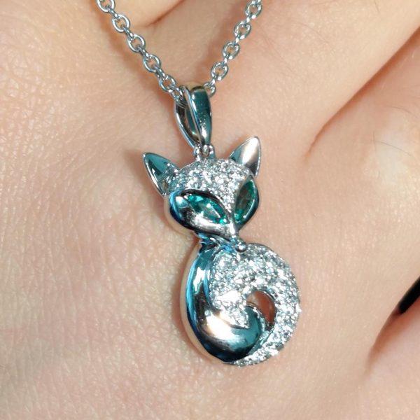 Diamant Anhänger in Weissgold Smaragd Fuchs 4