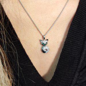 Diamant Anhänger in Weissgold Smaragd Fuchs 5