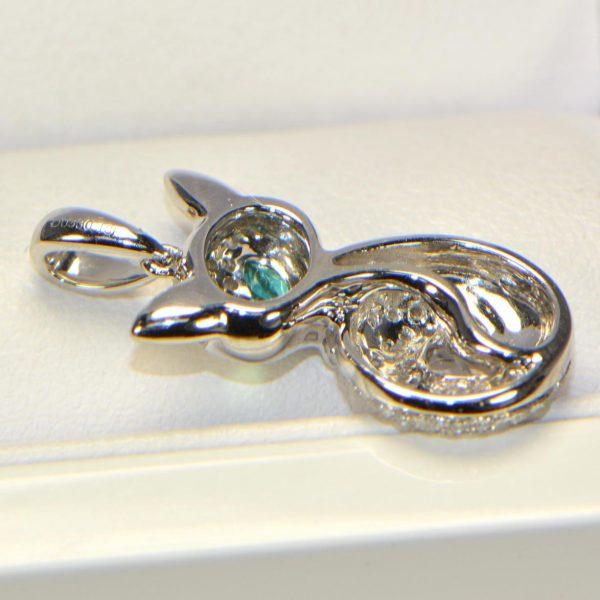 Diamant Anhänger in Weissgold Smaragd Fuchs