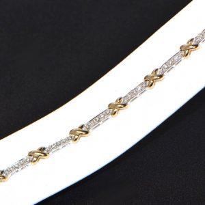 Diamant Armband bicolor Weissgold Gelbgold modern (2)