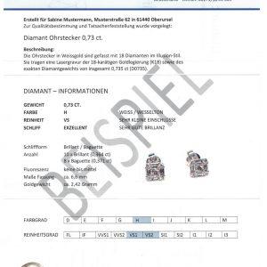 Diamant Ohrstecker 0,90 ct. Illusion Weissgold