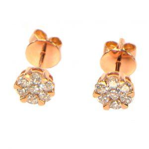 Diamant Ohrstecker Rosegold Illusion 1 ct Karat