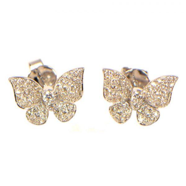 Diamant Ohrstecker Schmetterling Weissgold 18K