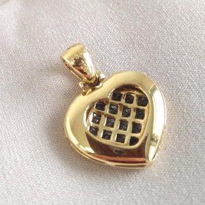 Diamant Anhänger Gelbgold Princess Schliff Herz