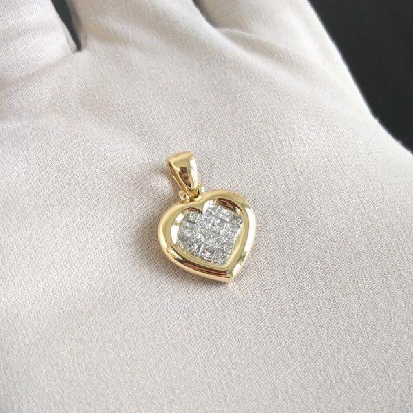 Diamant Anhänger Herz Gelbgold 18K