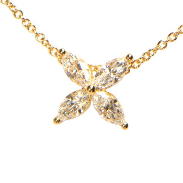 Diamant Collier Gelbgold Marquise 18K