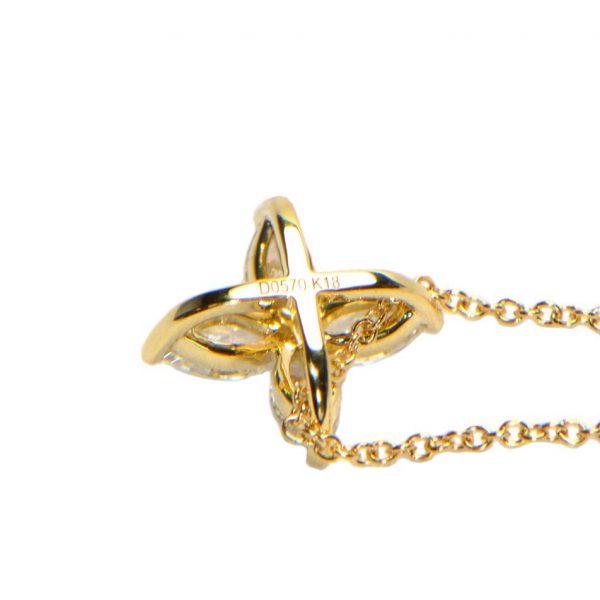 Diamant Collier Gelbgold Marquise Anhänger Kette