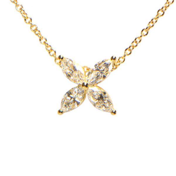 Diamant Collier Gelbgold Navette 18K