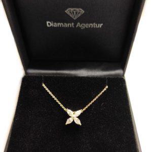 Diamant Collier Gelbgold Navette 18K Blüte
