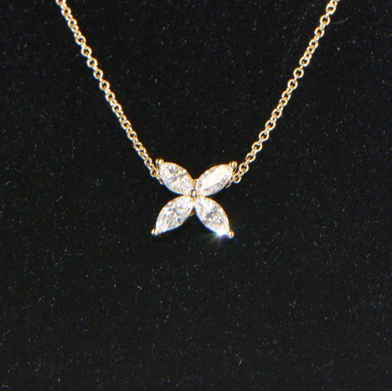 Diamant Collier Gelbgold Navette 18K Kette mit Anhänger