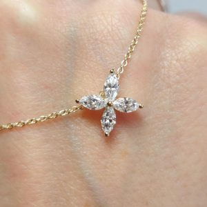 Diamant Collier Gelbgold Navette 18K Marquise