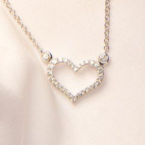 Diamant Collier Weissgold Herz 18 Karat