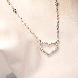 Diamant Collier Weissgold Herz 18K