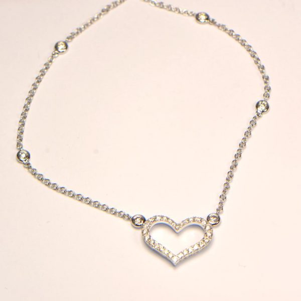Diamant Collier Weissgold Herz 750