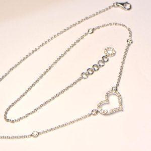 Diamant Collier Weissgold Herz modern