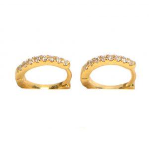 Diamant Creolen Gelbgold doppelter Diamantbesatz