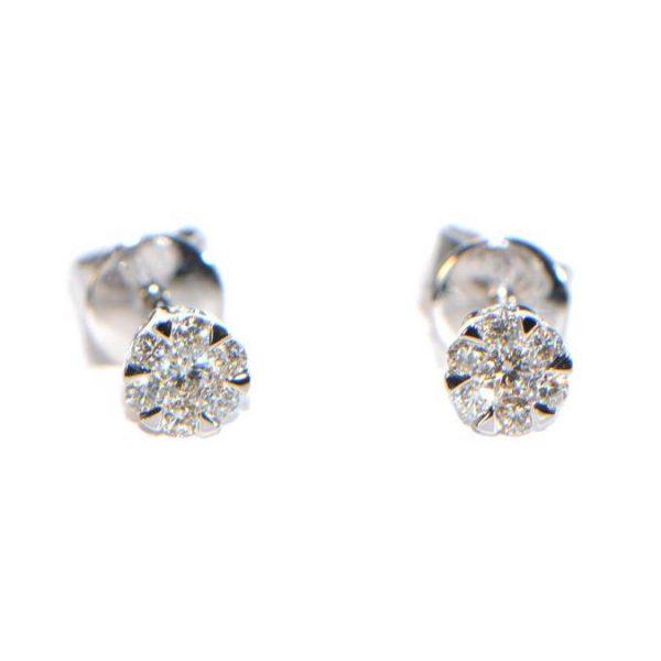 Diamant Ohrstecker 0,17 ct. Illusion Weissgold klein
