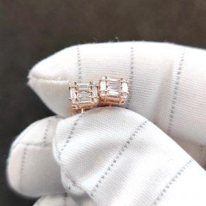 Diamant Ohrstecker Baguette Rosegold 18K