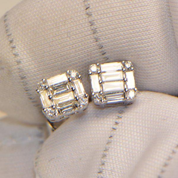 Diamant Ohrstecker Baguette Weissgold 18K