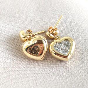 Diamant Ohrstecker Gelbgold Herzen Princess cut