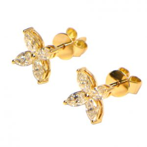 Diamant Ohrstecker Gelbgold Navette Marquise Blüte