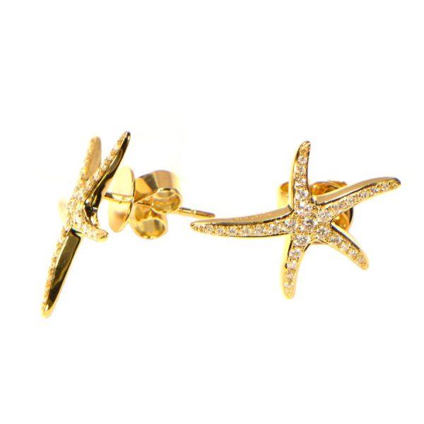Diamant Ohrstecker Gelbgold Seesterne 18 Karat