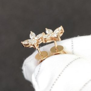 Diamant Ohrstecker Rosegold 18K Navette Marquise Blüte