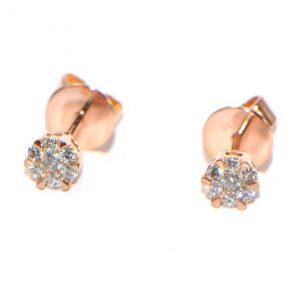 Diamant Ohrstecker Rosegold Illusion klein